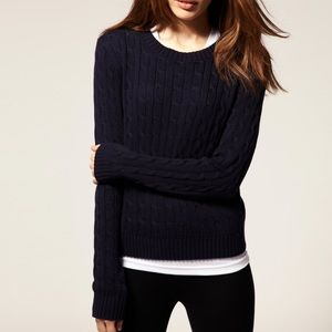 American Apparel / Navy Fitted Cable Knit Sweater